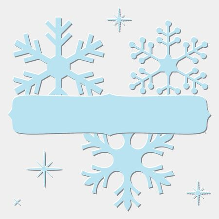 blue snowflakes: Frame with embossed blue snowflakes for your Christmas text, isolated on white.
