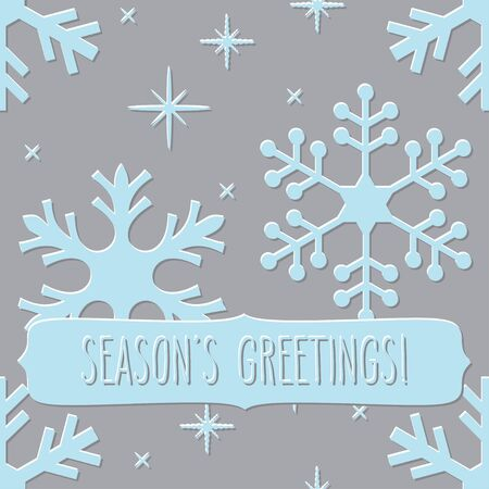 seasons greetings: Embossed snowflakes seamless pattern with a frame with hand written seasons greetings.