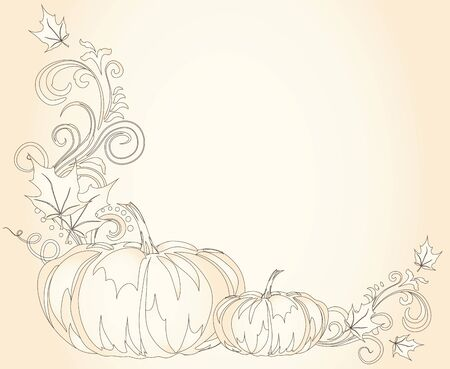 room for text: Vintage brown autumn frame with pumpkins and leaves and room for text. Thanksgiving greeting card template.