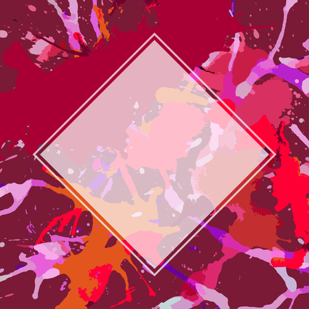semitransparent: Template with semi-transparent white square over bright red artistic paint splashes, ready for your text.