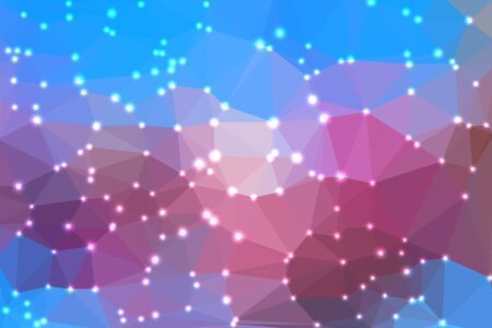 fondo geometrico: Pink and blue abstract geometric background consisting of colored triangles with lights in corners.