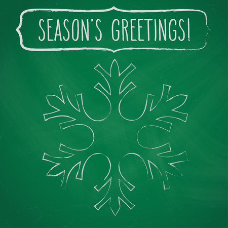 seasons greetings: Chalk snowflake and a frame with hand written seasons greetings over green chalkboard. Vettoriali