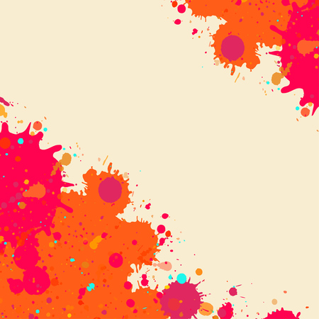 room for text: Vibrant bright orange watercolor artistic splashes frame with room for text, square format.