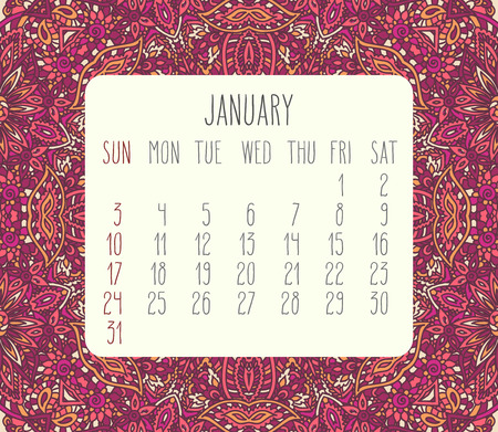 encajes: January 2016 vector monthly calendar over lacy doodle hand drawn background, week starting from Sunday. Vectores