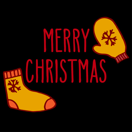 mitten: Christmas hand drawn doodle greeting card with sock, mitten and hand written Merry Christmas words in red and orange over black background.