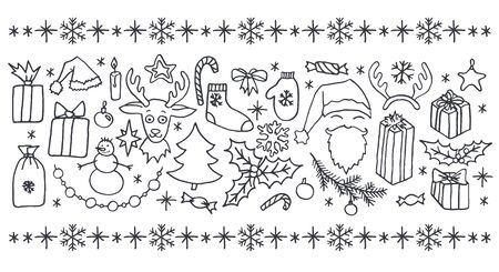 christmas candle: Set of Christmas hand drawn doodle elements in black over white background. Santa, Christmas tree, reindeer, snowman, snowflakes, gifts, decorations, holly, candle, stars.