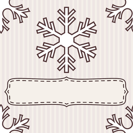 dashed: Blank dashed frame with snowflakes over beige striped background. Illustration