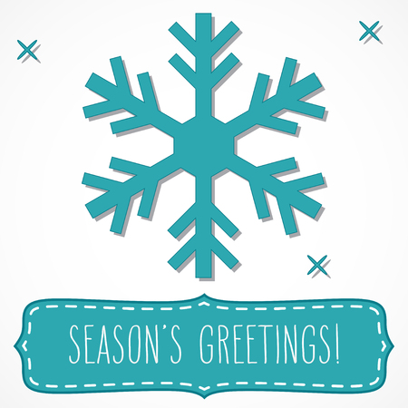 hand written: Teal snowflake and a frame with hand written seasons greetings, isolated over white.