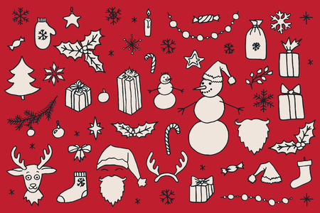 christmas sock: Set of Christmas hand drawn doodle elements over red background. Santa, Christmas tree, reindeer, snowman, snowflakes, gifts, decorations, holly, candle, stars. Illustration