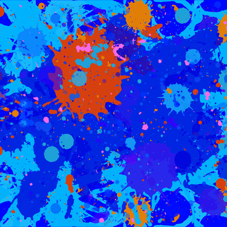 Dark blue and orange paint artistic layered splashes background. Square abstract paint background. Illustration