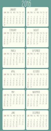 calendar: Ann�e 2016 vecteur calendrier mensuel. Semaine � partir de dimanche. Beige arrondi rectangle sur fond vert.