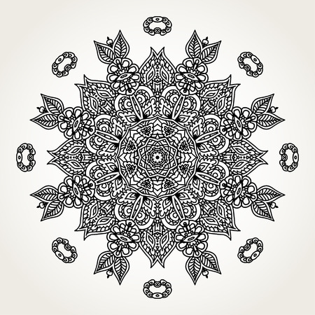encajes: Ornate lacy doodle floral round rosette in black over white backgrounds. Hand drawn mandala. Coloring pages for adults.