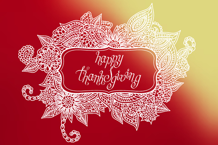 Hand drawn ornate doodle frame with words happy thanksgiving in it. Çizim