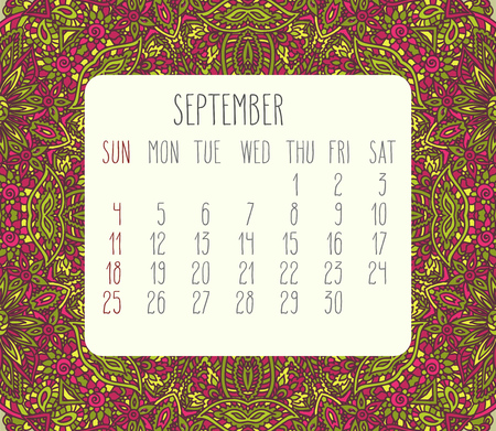 encajes: September 2016 vector monthly calendar over lacy doodle hand drawn background, week starting from Sunday. Vectores