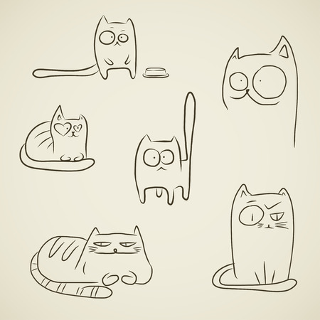funny animals: Set of hand drawn sketches of funny cats over vintage brown background. Illustration