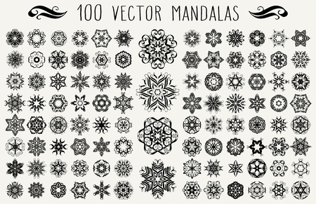 Set of ornate floral backgrounds. Mandalas formed with hand drawn calligraphic elements.