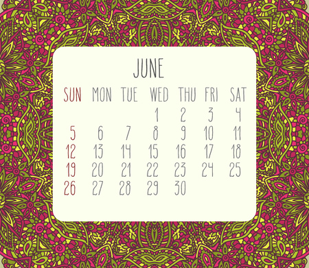 encajes: June 2016 vector monthly calendar over lacy doodle hand drawn background, week starting from Sunday. Vectores