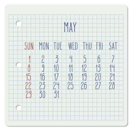 calendar page: May 2016 vector monthly calendar on a squared notebook page. Week starting from Sunday. Hand written typography. Illustration