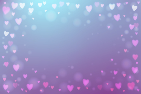 heartshaped: Abstract smooth blur purple background with small heart-shaped lights over it.