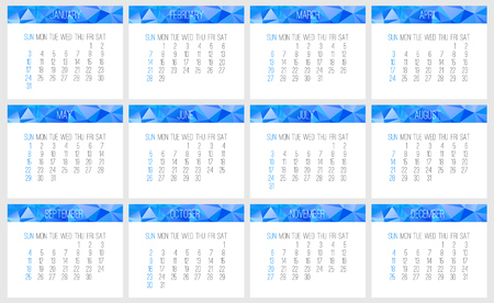 may: Year 2016 vector monthly calendar. Week starting from Sunday. Contemporary low poly design in blue color.