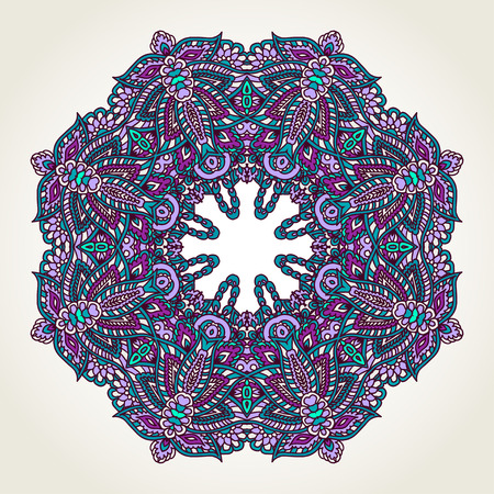 scroll: Ornate lacy doodle floral round rosette over white backgrounds. Hand drawn teal, blue and purple mandala. Illustration