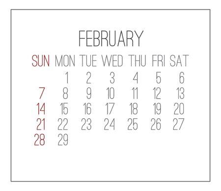 plain: February 2016 plain vector monthly calendar. Week starting from Sunday. Clean light design over white background.