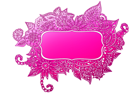 room for your text: Colored ornate floral doodle frame isolated on white with room for your text. Illustration