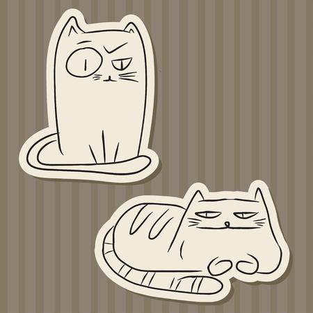 caras graciosas: Corte del papel dibujado a mano dibujos de gatos divertidos sobre fondo vintage rayas marrones.