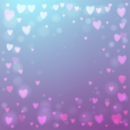 photographic effects: Abstract square blur blue and pink background with small heart-shaped lights over it.