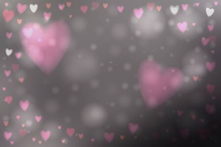 day dreaming: Abstract smooth blur dark gray background with heart-shaped pink lights over it. Illustration