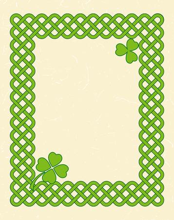keltic: Traditional green celtic style braided knot frame with shamrock leaf over textured vintage background.