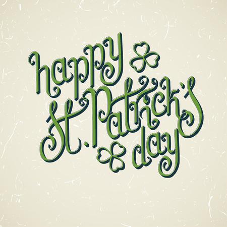 Stylish green St. Patricks day greetings over vintage textured beige background. Illustration