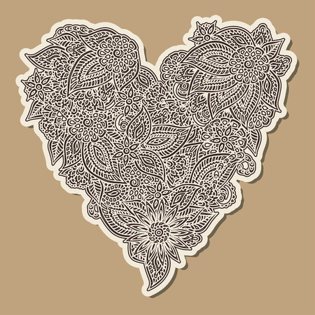 vintage scrolls: Detailed paper hand drawn doodle ornate heart over brown background.