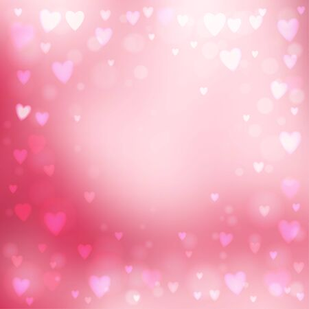 the abstract background: Abstract square blur pink background with small heart-shaped lights over it. Illustration