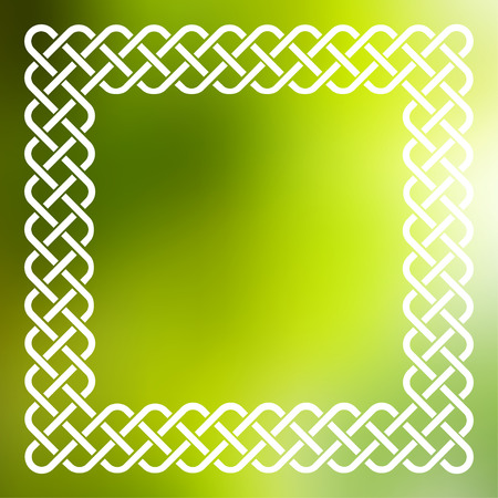 Traditional style braided knot celtic frame over square abstract smooth blur green background. Illustration