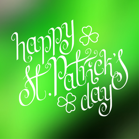 Hand written St. Patricks day greetings over square abstract smooth blur green background.