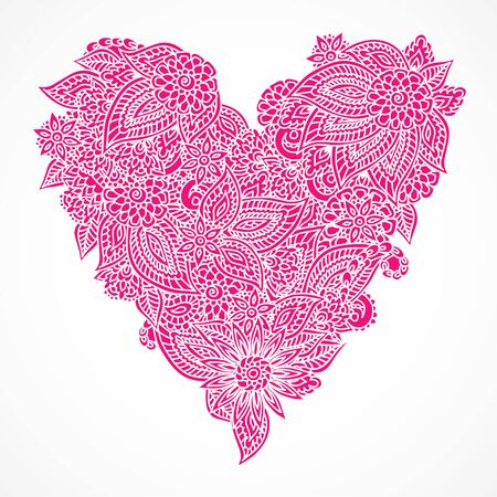 encajes: Detailed hand drawn doodle ornate pink heart isolated over white background.