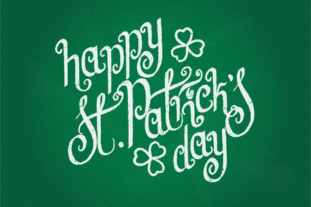 hand written: Hand written St. Patricks day greetings over green chalkboard background. Illustration