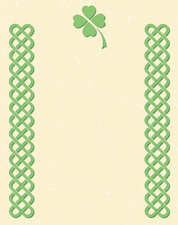 Traditional green celtic style braided knot borders with shamrock leaf over textured vintage background, room for text.
