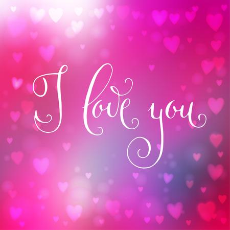 te amo: Fondo cuadrado abstracto rosado desenfoque con luces en forma de coraz�n sobre ella y la mano escrita Te amo palabras.