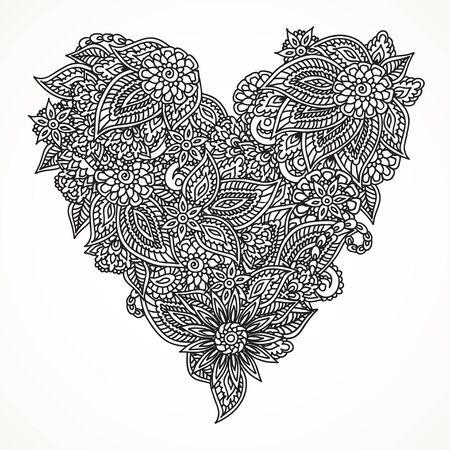 encajes: Detailed hand drawn doodle ornate black heart isolated over white background.