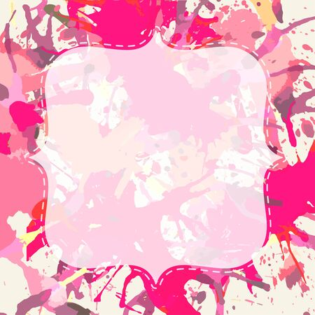 Template with semi-transparent white vintage frame over bright pink colorful artistic paint splashes, ready for your text.