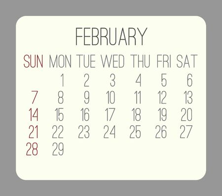 rounded rectangle: February 2016 vector monthly calendar. Week starting from Sunday. Beige rounded rectangle over gray background.