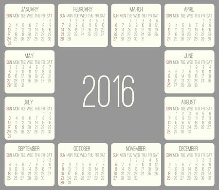 rounded rectangle: Year 2016 vector monthly calendar. Week starting from Sunday. Beige rounded rectangle over gray background.