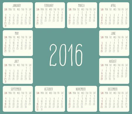 rounded rectangle: Year 2016 vector monthly calendar. Week starting from Sunday. Beige rounded rectangle over green background.