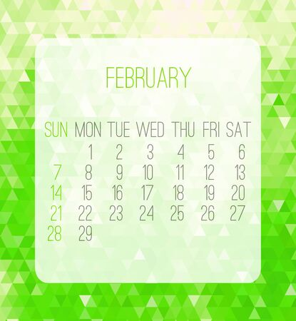 February 2016 vector monthly calendar. Week starting from Sunday. Contemporary low poly design in bright green color. Illustration