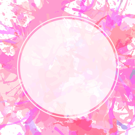 semitransparent: Template with semi-transparent white circle over pink pastel colored artistic paint splashes, ready for your text.