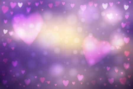 heartshaped: Abstract smooth blur purple background with heart-shaped lights over it.