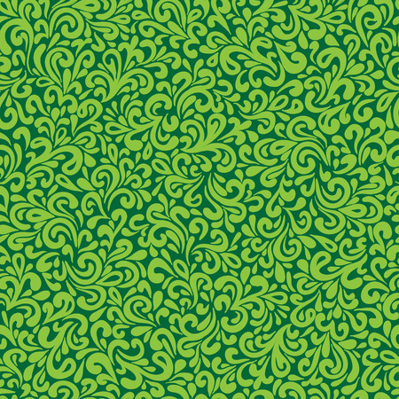 leafy: Abstract hand-drawn green leafy doodle seamless pattern.