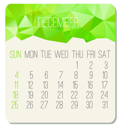 December 2016 vector monthly calendar. Week starting from Sunday. Contemporary low poly design in bright green color.